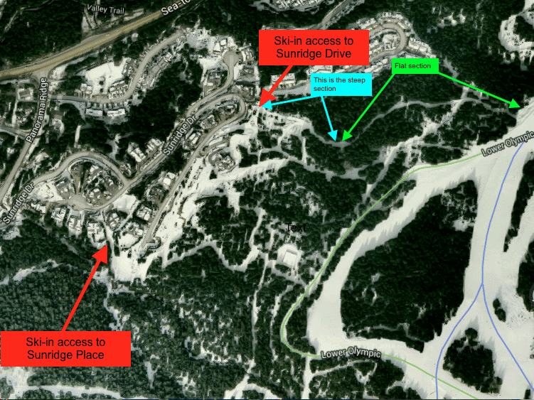 Showing the different gradients of the ski-out trail.