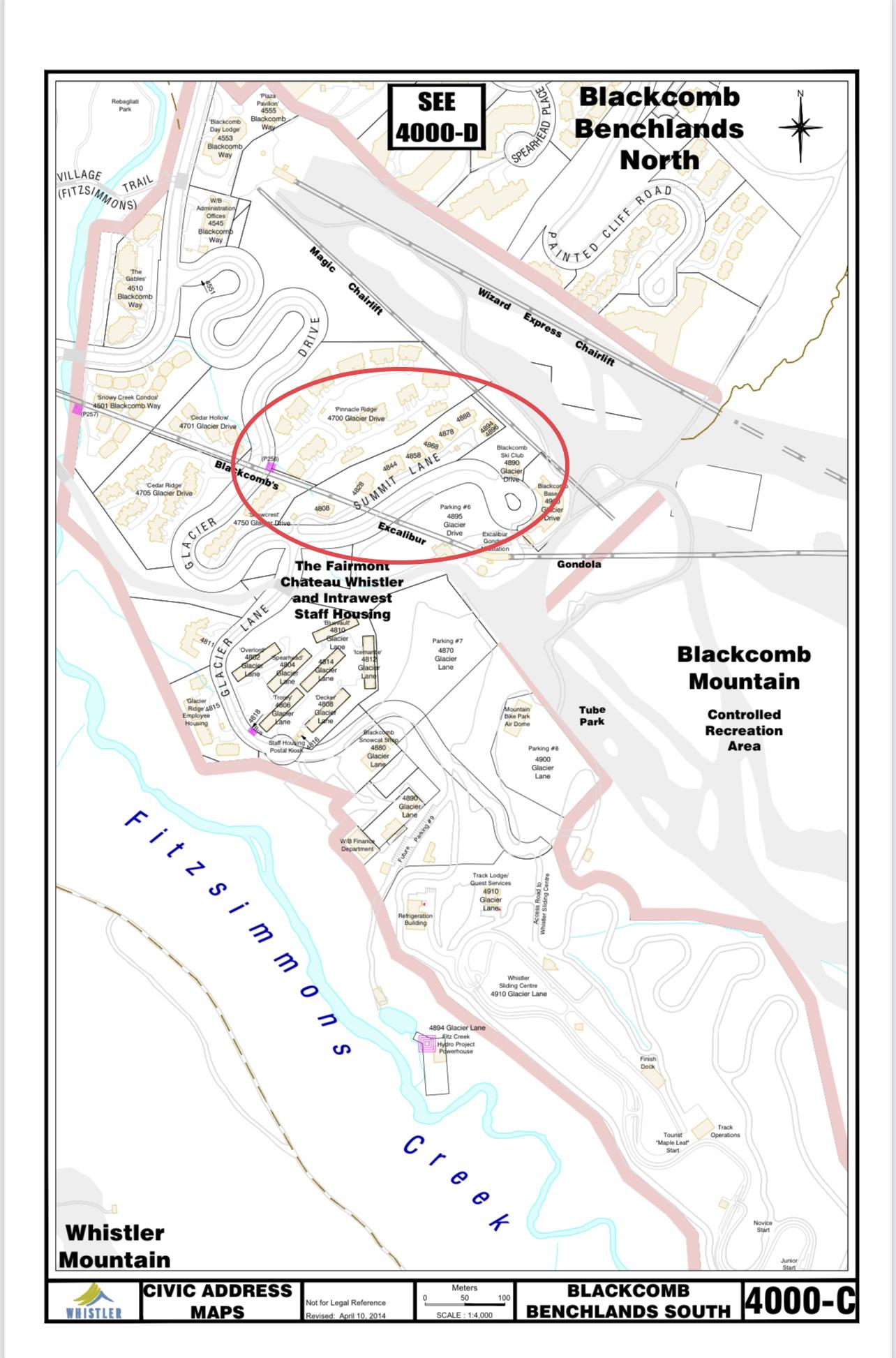 map showing the Summit Lane Civic Address