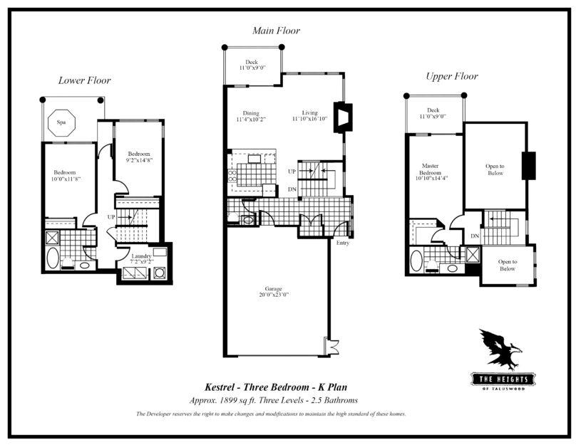 Heights K 3 bedroom floor plan