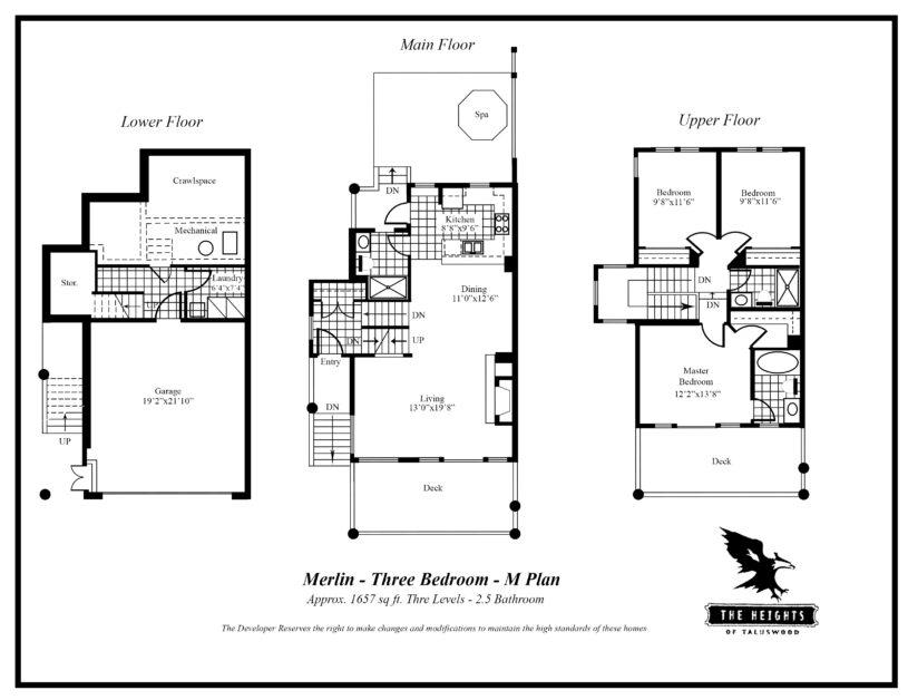 Heights M 3 bedroom floor plan