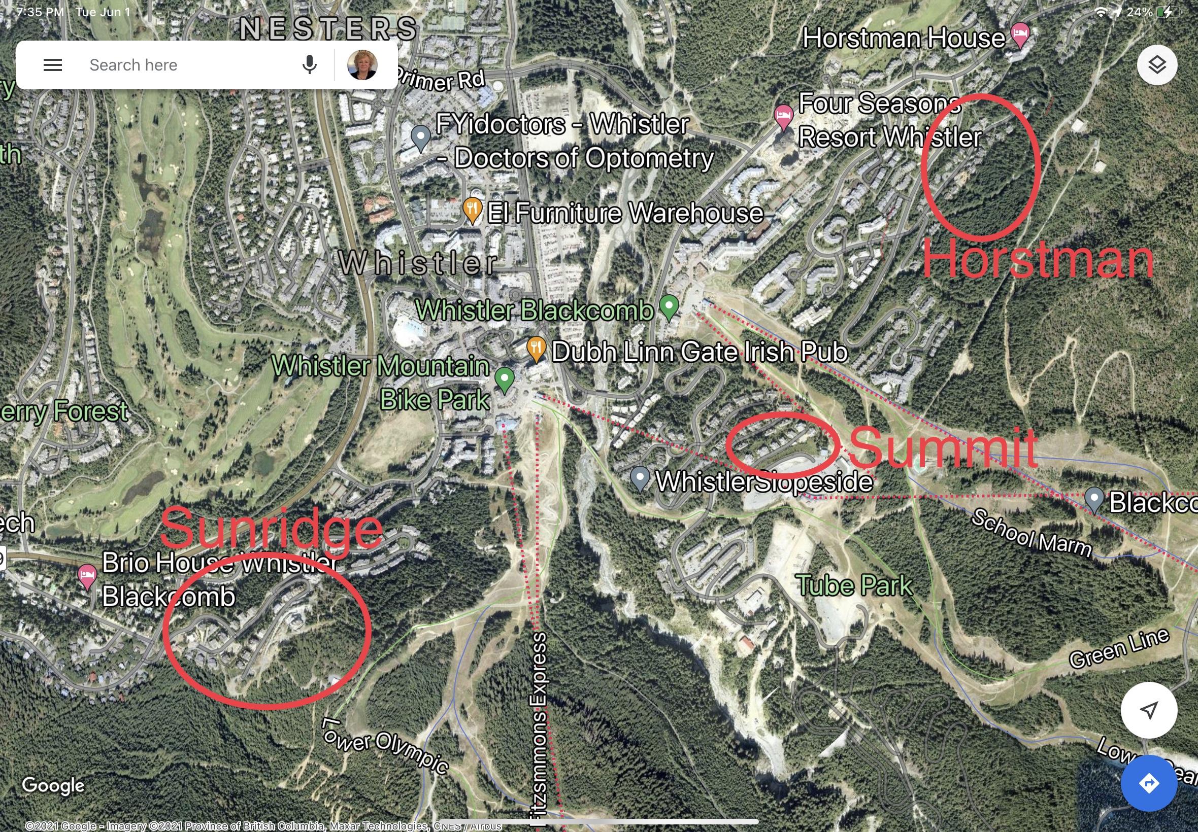 ocation of detached houses on Blackcomb Mountain