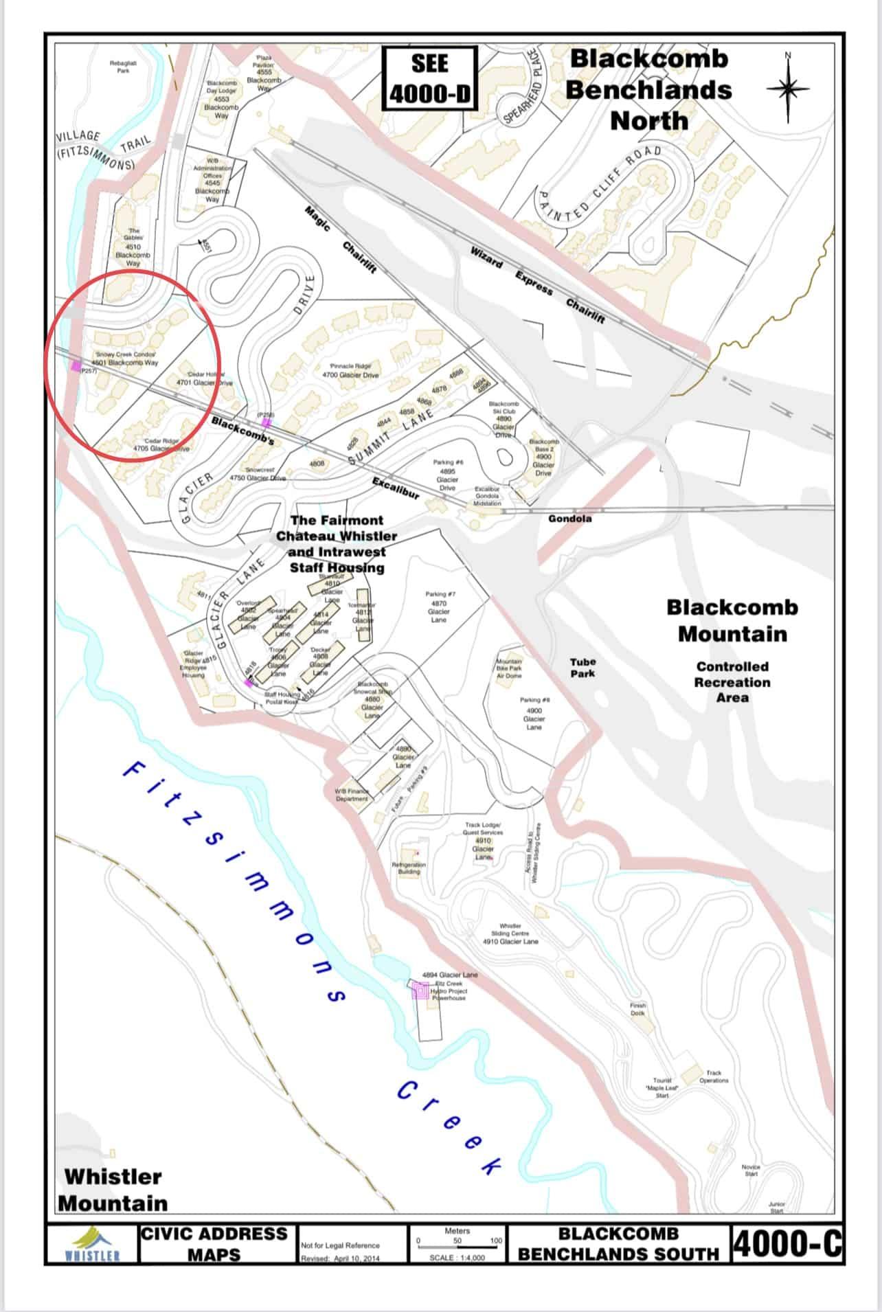 Snowy Creek Civic Address Map