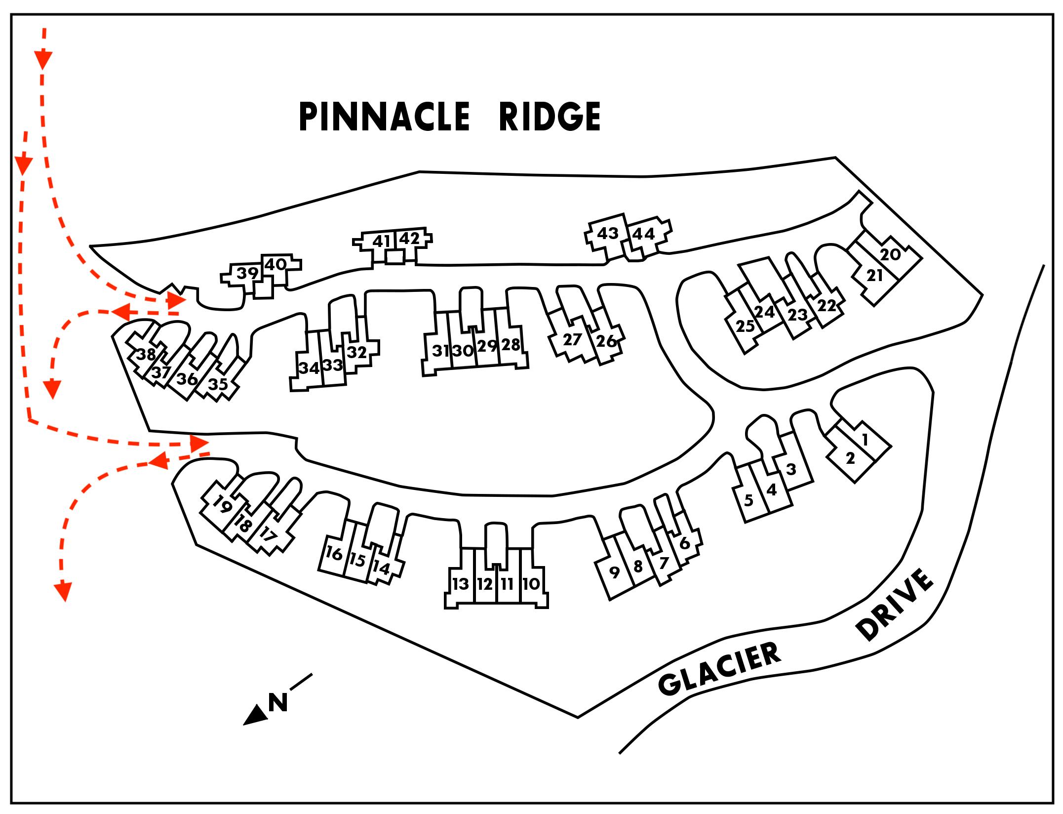 trail map showing Pinnacle-Ridge ski trails to all properties 1-44