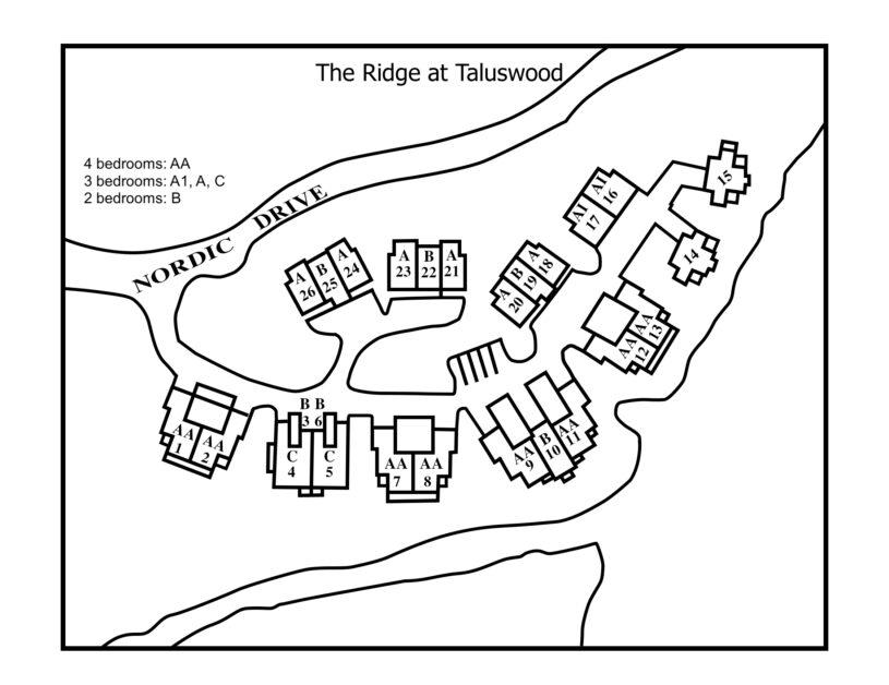 Ridge site plan with un it type of floor plan