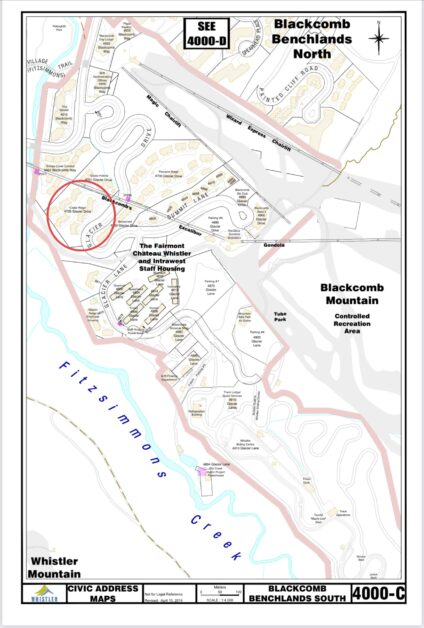 image Cedar Ridge civic address map showing location on blackcomb mountain