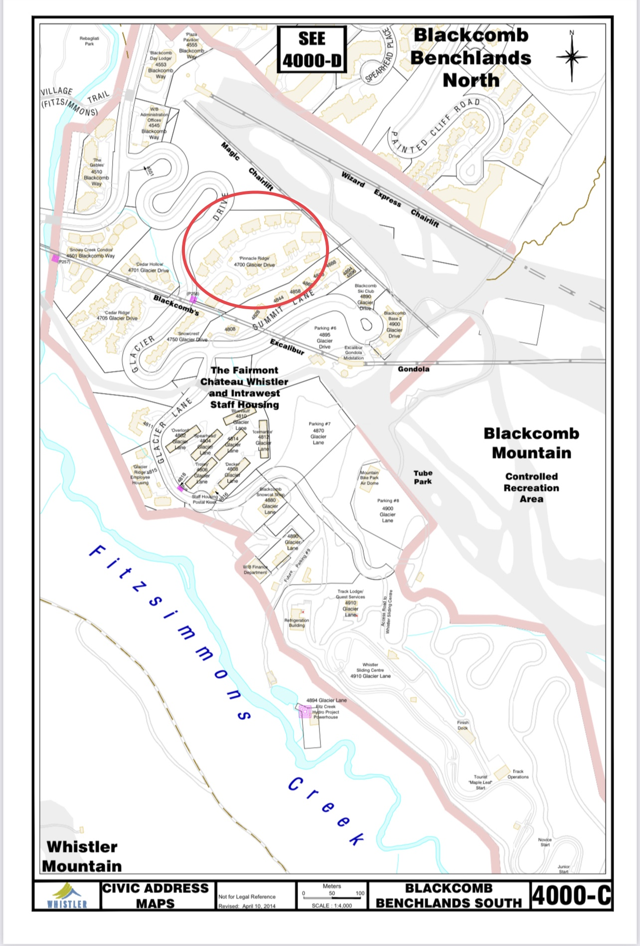image Pinnacle Ridge Civic address map showing location on blackcomb mountain