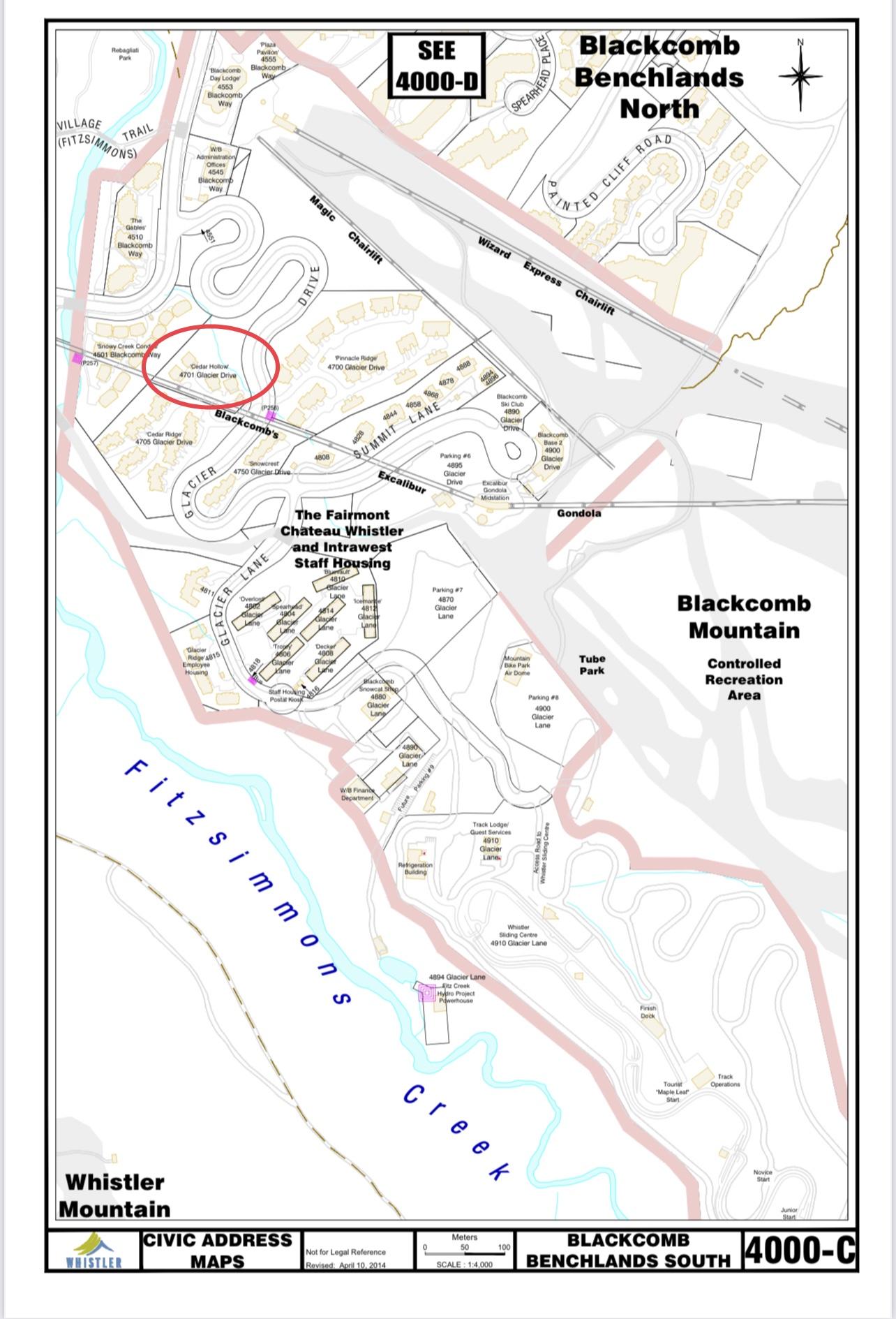 Cedar Hollow Civic address map showing location on blackcomb mountain