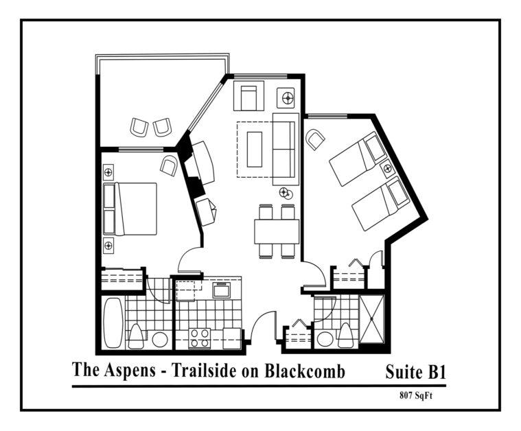 Aspens-suite-type-B1-2 bedrooms
