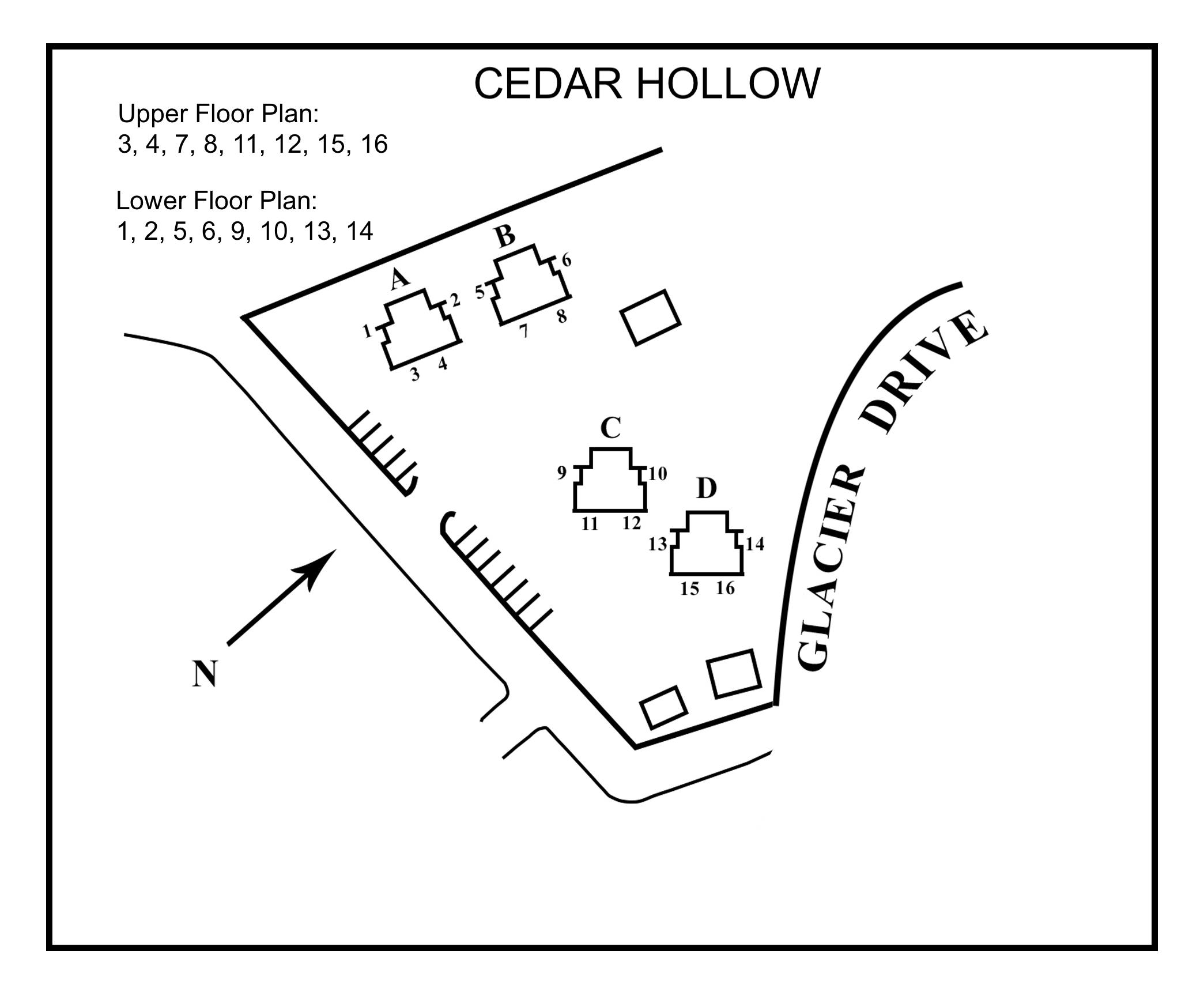 Cedar Hollow Site Floor Plan with upper lower key floor plans