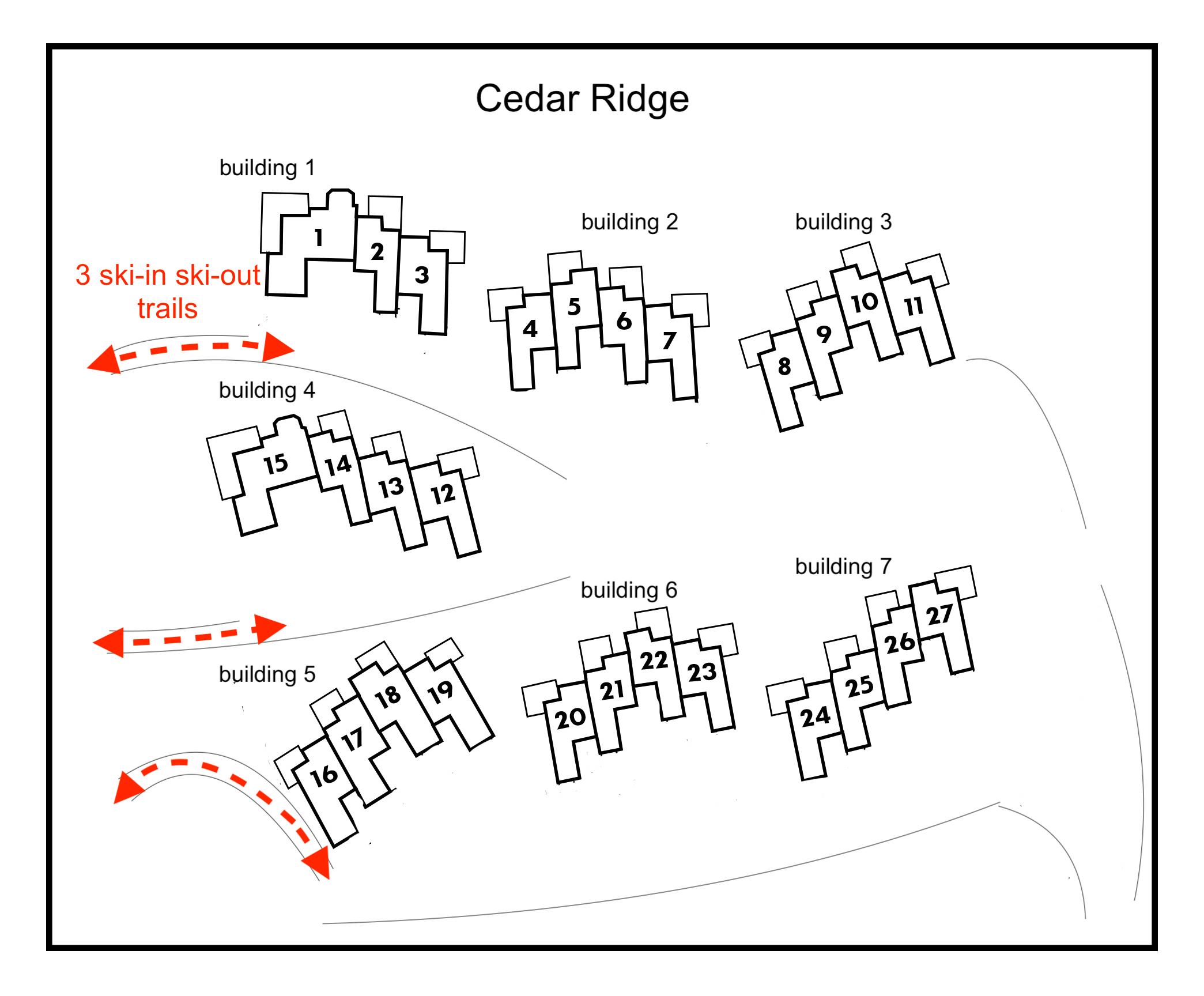 Cedar Ridge ski trails marked in red