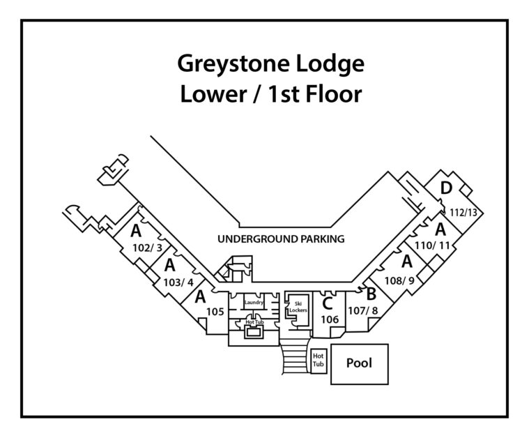 Greystone-Lodge-lower or 1st Level-building site plan (number-and-type)