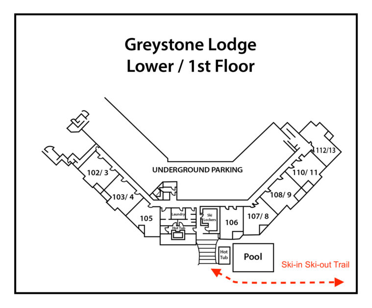 Greystone-Lodge SKI IN TRAIL MARKED IN RED 1st-Floor-(numbers-only)