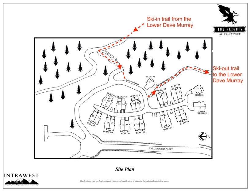 Heights site plan showing ski-in ski-out access trail