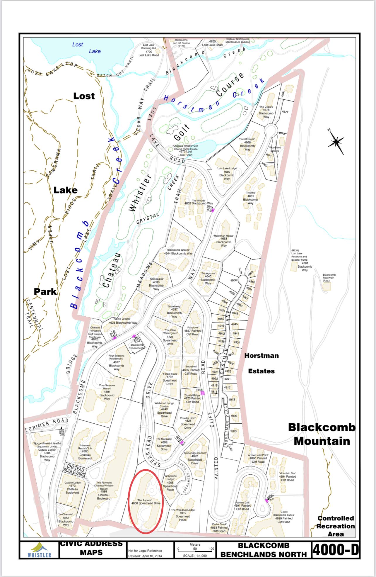 Aspens Civic Address Map