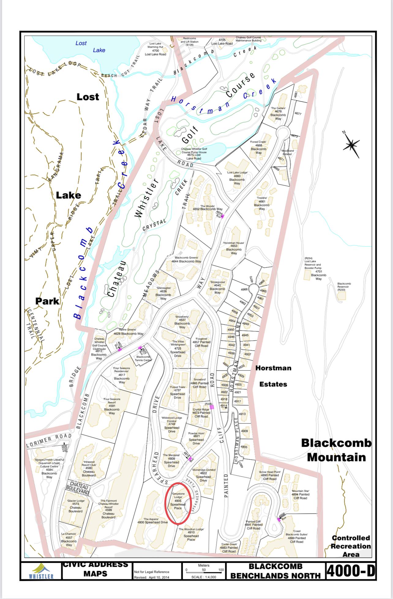 Greystone Lodge Civic Address Map