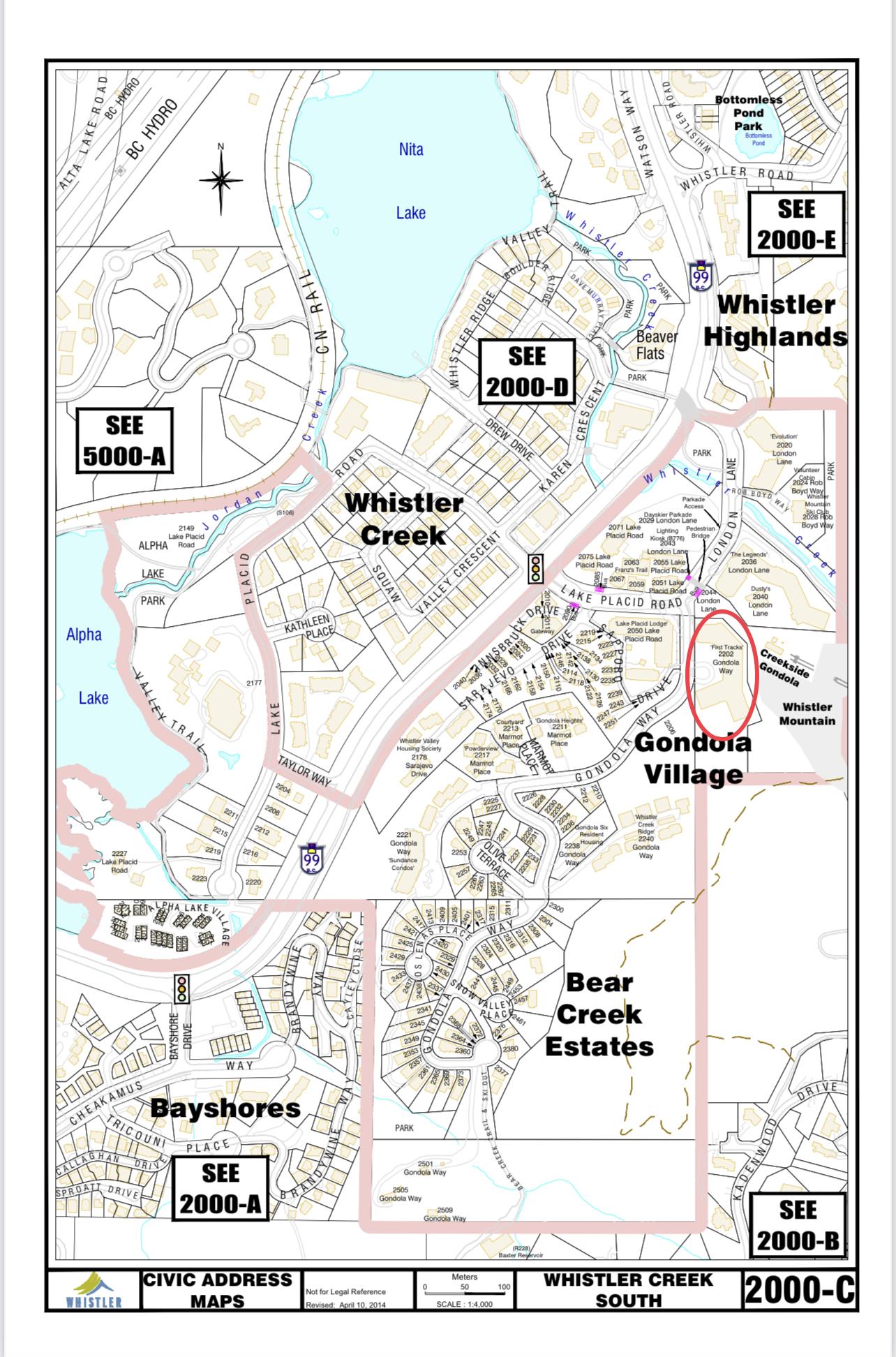 First Tracks Lodge Civic address map
