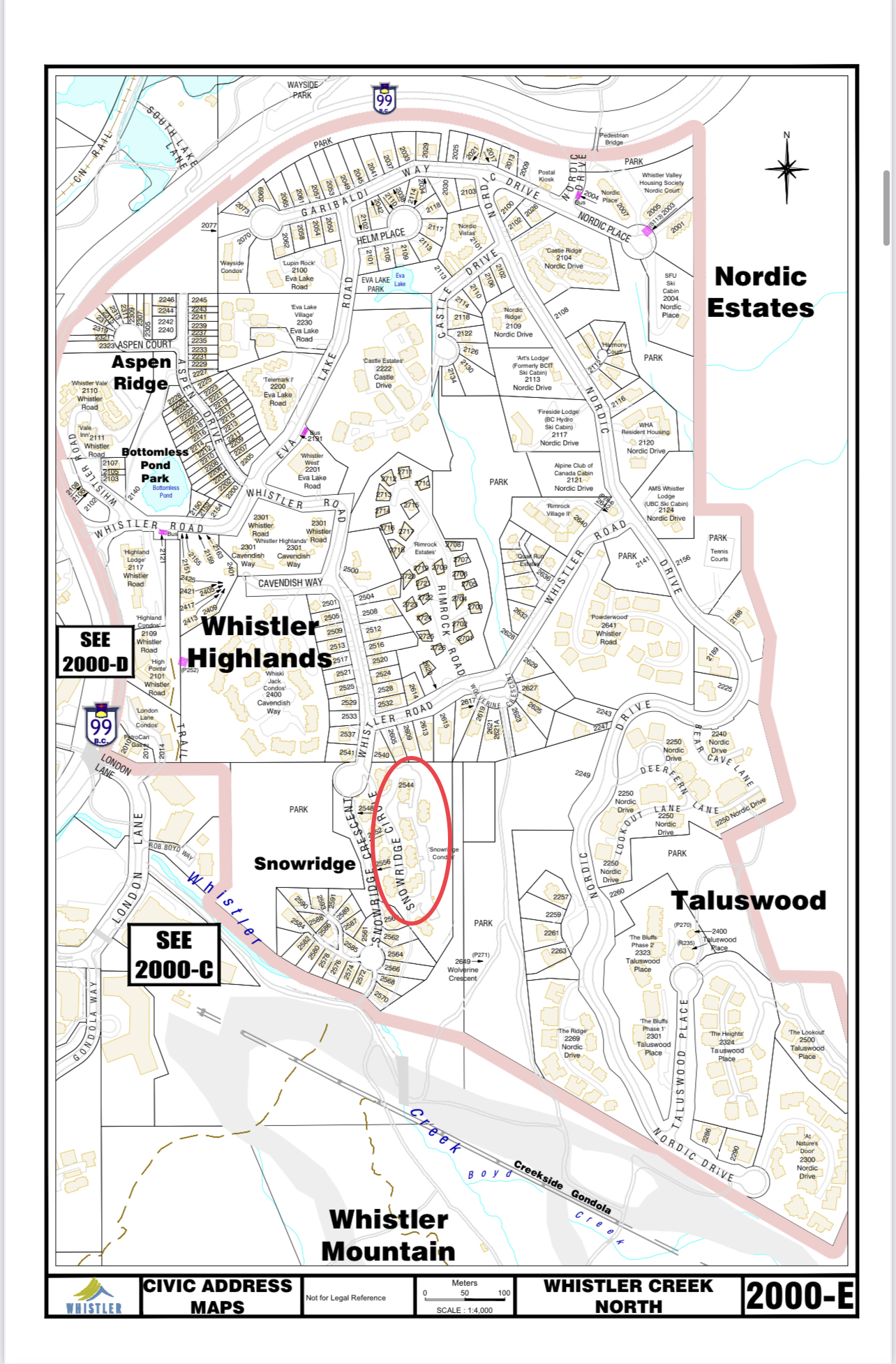 Snowridge Circle Civic Address map