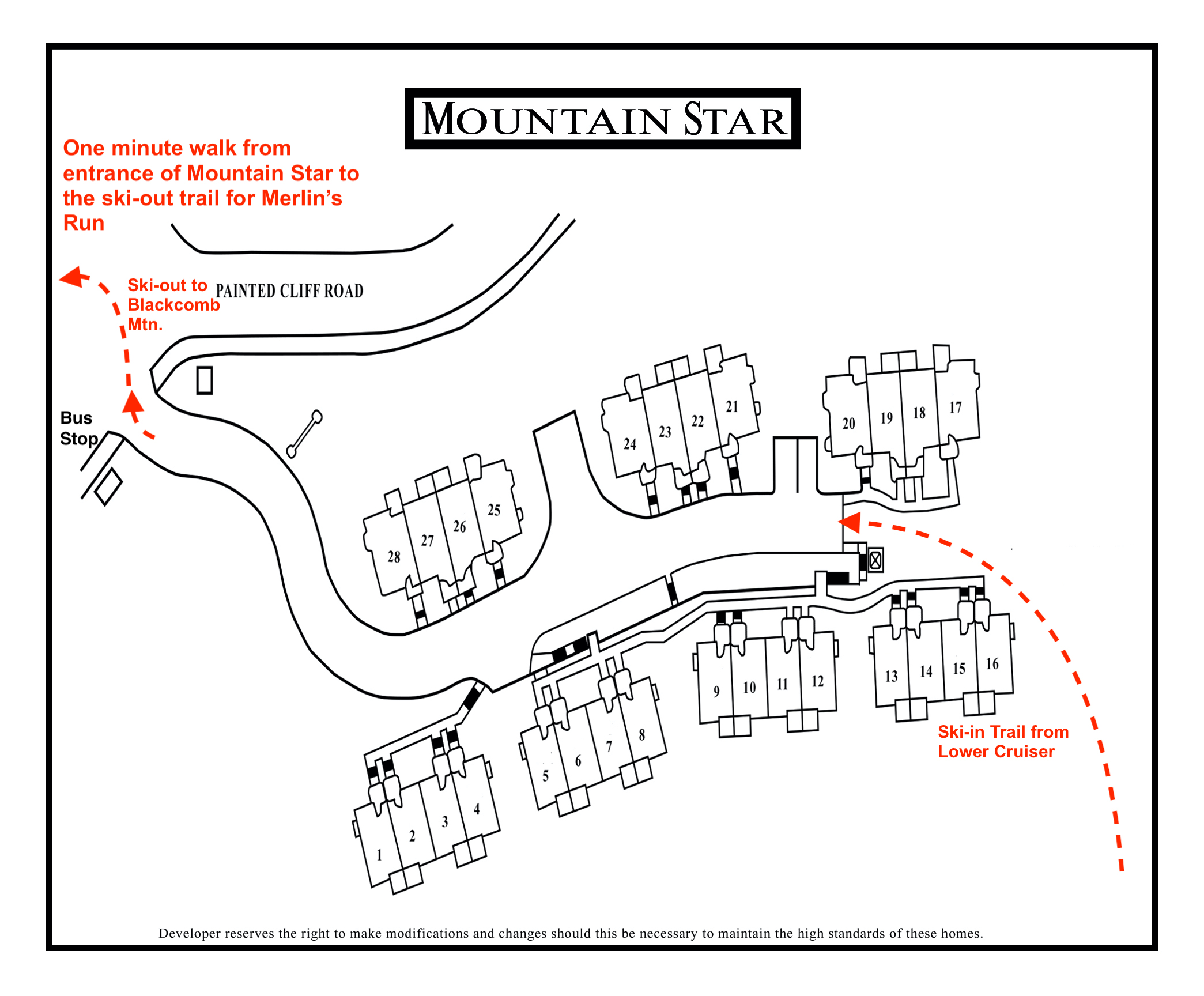 Mountain Star Site plan with ski-in ski-out trail marked