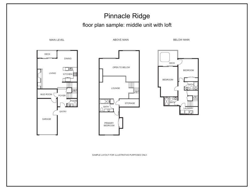 Pinnacle ridge floor plan middle unit with loft