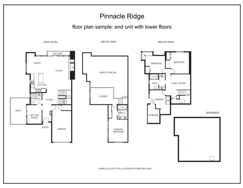 Pinnacle Ridge floor plan end unit with lower levels