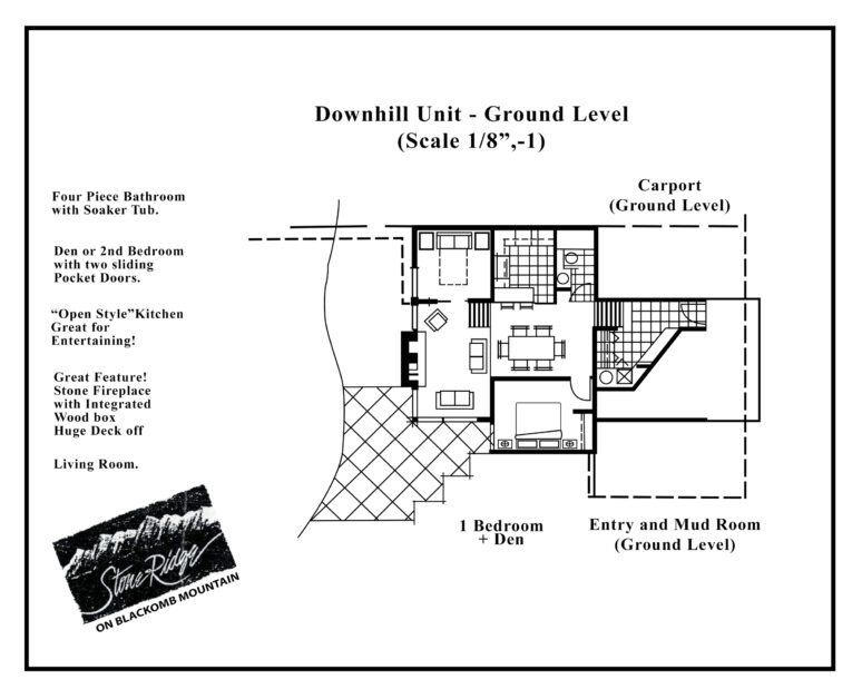Stoneridge 1 bed den downhill w stairs