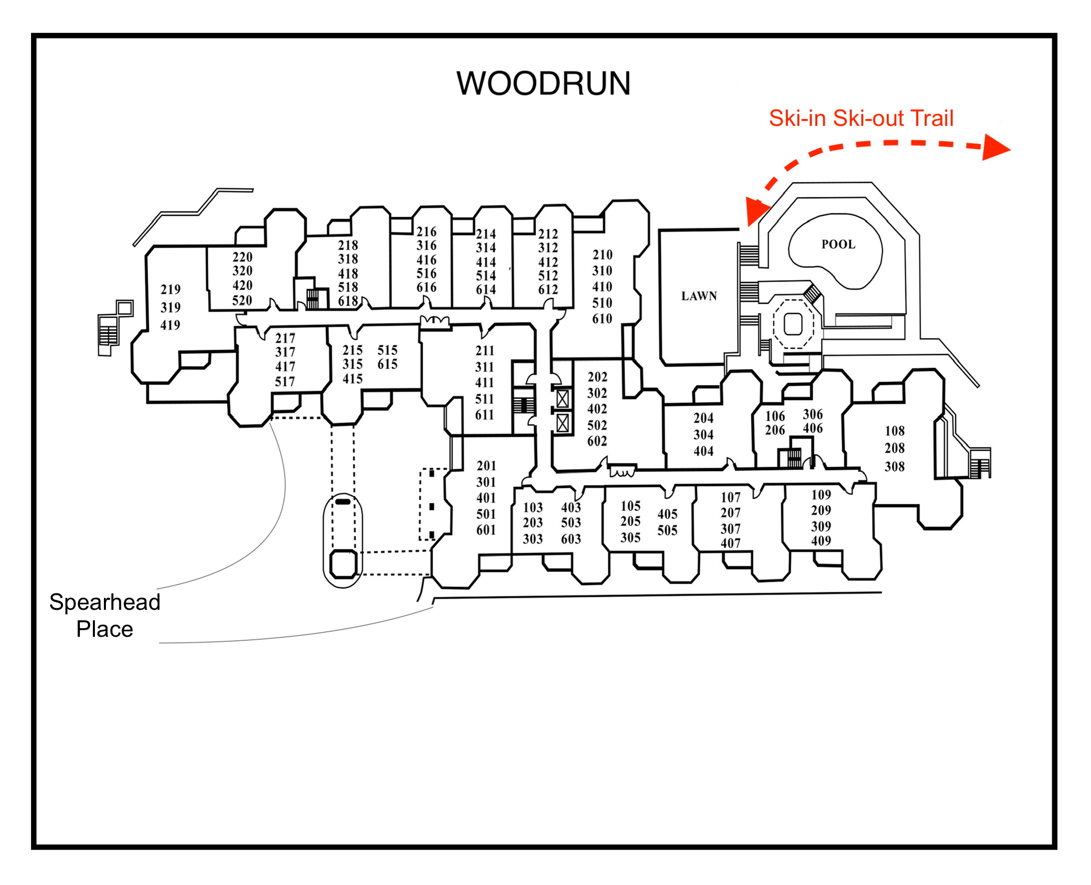 Woodrun---Numbers-ski in ski out trail marked in red
