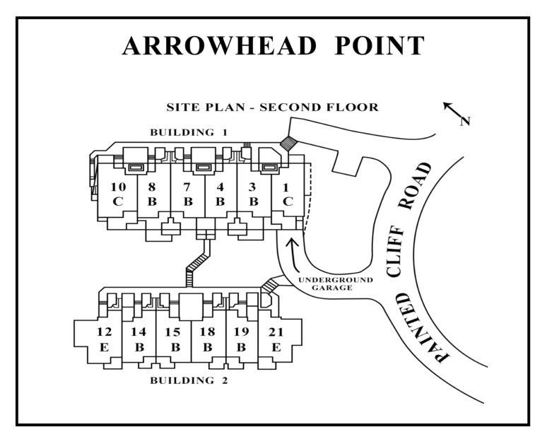 Arrowhead Point second floor site plan showing unit locations